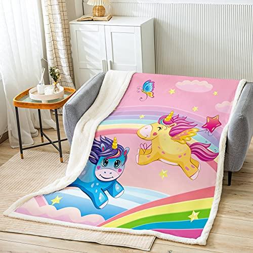 Manta de unicornio arcoíris de color rosa pastel, manta de cama Kawaii para niños de 100 x 150 cm, color amarillo y azul con diseño de mariposa, manta de forro polar para niñas y sillas de cama