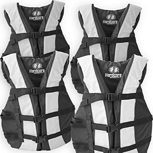 4 Pack Hardcore Adult Life Jacket PFD Type III Coast Guard Ski Vest White