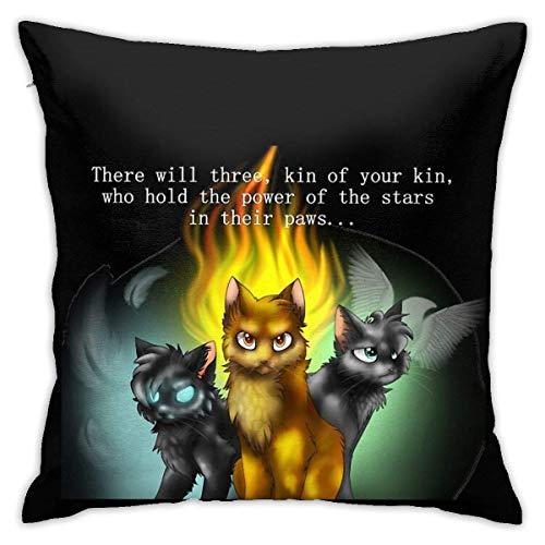 Holzkary Fundas de Almohada Warrior Cats Prophecies Decorative Fundas de Almohada de 45x45cm de Cremallera Oculta para sofá de Dormitorio en casa