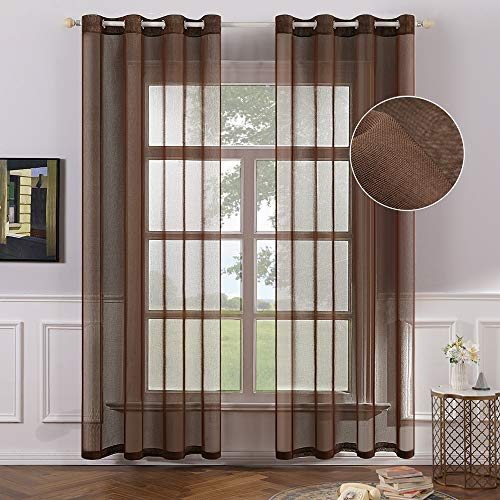MIULEE 2 Panels Chocolate Brown Semi Sheer Window Curtains Elegant Grommet Top Window Voile Panels/Drapes/Treatment Linen Textured Panels for Bedroom Living Room (54X84 Inches)