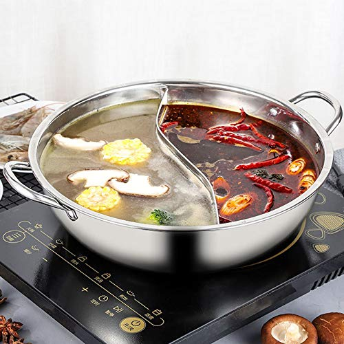 Edelstahl Shabu Shabu Hot Pot Easy Clean 2 Grid 2 Geschmack Yin Yang Hot Pot für Induktions-Kochfeld Gasherd Mandarinen-Enten-Pot mit Deckel Divider,14.1inches