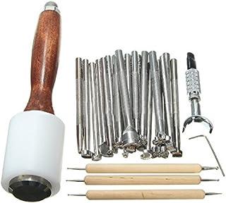 25 pièces / ensemble Kit de gravure en cuir, outil d'artisanat en cuir marteau outil d'impression sculpté Kit de couture b...