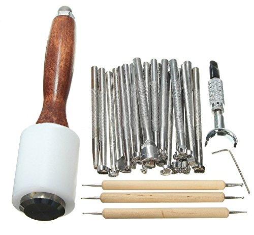 Dxlta 25 Teile/Satz Lederhandwerk Werkzeuge Holz Stahl Leder Geschnitzte Hammer Druckwerkzeug Nähen Handgemachte Kit Anzug DIY Zubehör