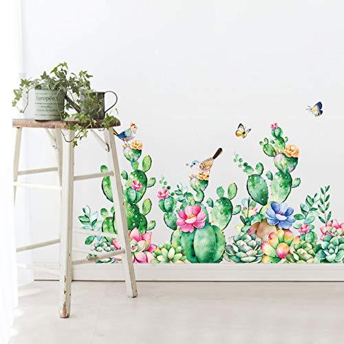 Planta de dibujos animados Cactus Flores y pájaros Protección del medio ambiente Vinilo Sala de estar Dormitorio Pegatinas de pared extraíbles Mural Decoración Calcomanía Cartel