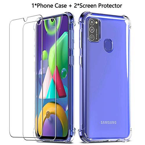 QHOHQ Funda para Samsung Galaxy M21 con 2 Unidades Protector de Pantalla, Carcasa Anti-Choques y Anti- Arañazos - Cristal Templado Membrana - [9H Dureza] - [Anti-Arañazos]