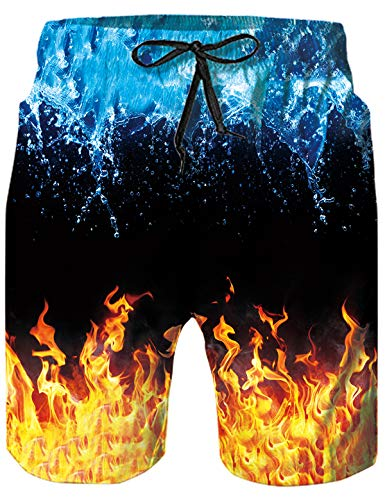 Mens Hawaiian Swim Trunks Cool Board Shorts Summer Quick-Dry Bathing Suit Casual Novelty Swimwear Funny Blue Ice and Orange Smoke Print Beach Shorts Surf Vintage Swimsuits with Mesh Liner Beachwear M