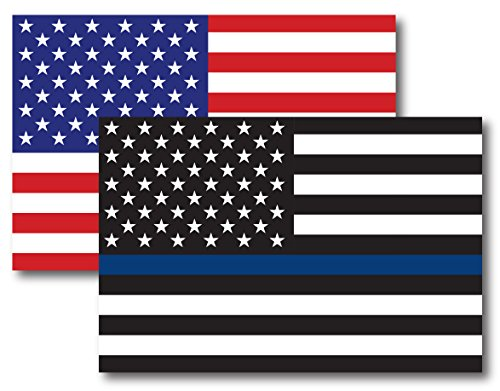 Thin Blue Line American Flag Magnet Decal and American Flag Magnet 4x6 - Heavy Duty for Car Truck SUV - 2 Pack - in Support of Police and Law Enforcement Officers