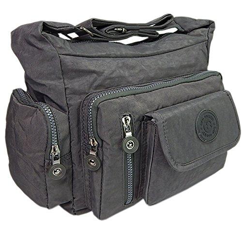 ekavale Wasserabwesende hochwertige leichtgewichte Damen-Handtasche Umhängetasche aus Crinkle Nylon (Grau)