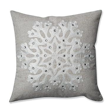 Pillow Perfect Snowflake Throw Pillow, 16.5 , Grey