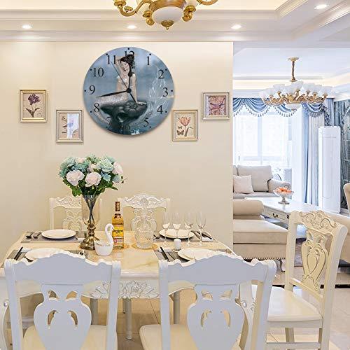 LUHUN Reloj de Pared diseño Moderno de 30 cm, Sirena de la Marea de la Luna,Reloj de Pared silencioso Digital, Utilizado en la Sala de Estar la Cocina