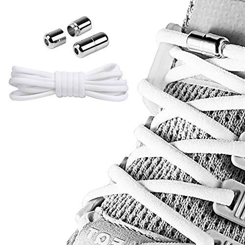 Elastische Schnürsenkel Kinder 100cm,Schnellschnürsystem Ohne Binden,Schuhe Binden mit Metallkapsel,Schnürsenkel mit Metallverschluss für Kinder Senioren Schuhe Arbeitsschuhe das Flache Sneaker(Weiß)