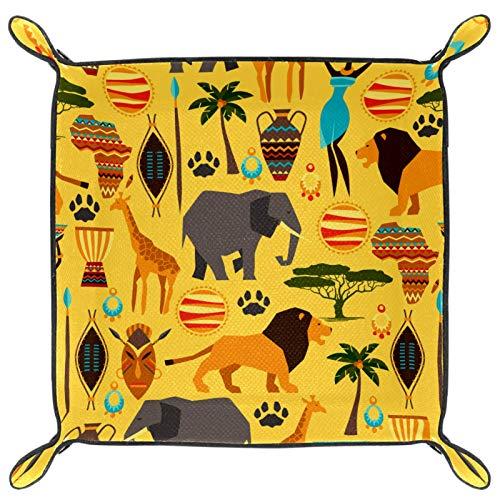 HANDIYA Würfeltablett, faltbares Tablett aus PU-Leder für RPG Würfel, Gaming und andere Brettspiele, Afrika, Wald, Tier, Elefant, Giraffe