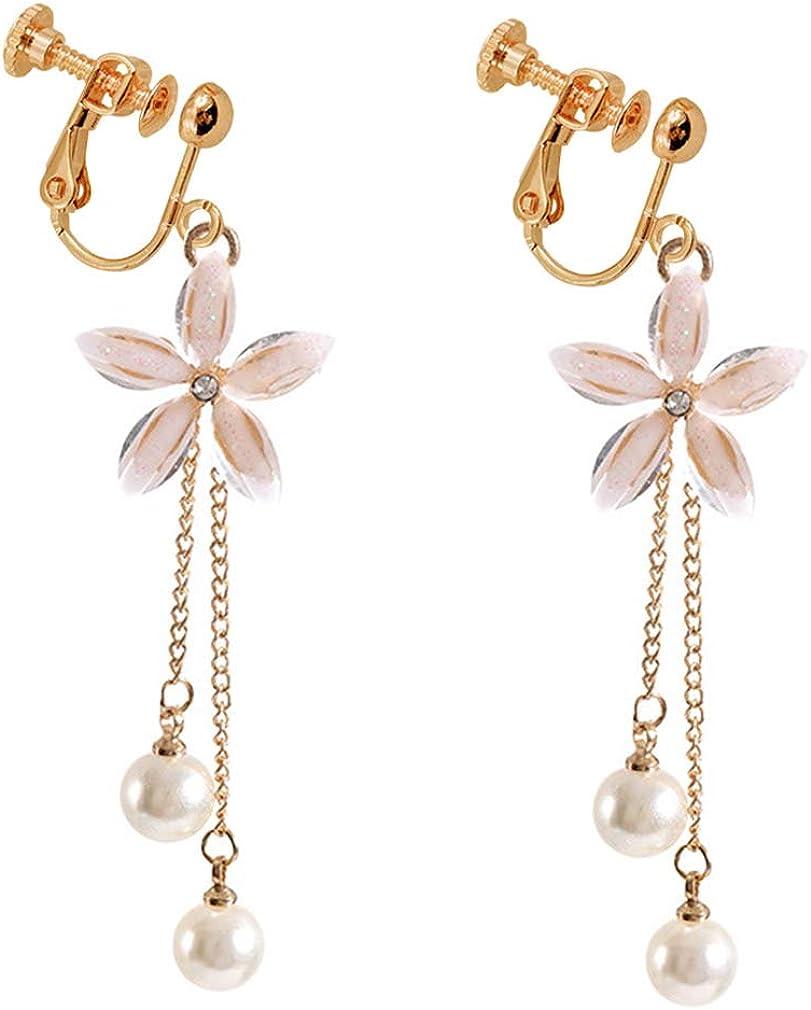 Fashion Clear Crystal Flower Long Tassels Dangle Clip on Earrings Created Pearl Drop for no Pierced Women