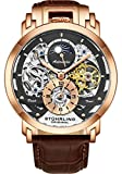 Stuhrling Orignal Herren Skelett Automatic Analog AM/PM Dual Time Uhr mit Lederband 906 (Rose Gold)