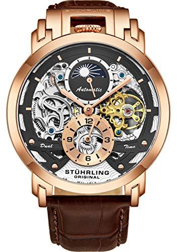 Stuhrling Orignal Herren Skelett Automatic Analog AM/PM Dual Time Uhr mit Lederband 906 (Rose Gold)