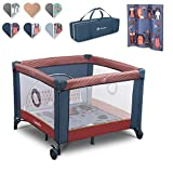 Lionelo Sofie Laufstall Laufstall Baby Baby Bett Reisebett Baby ab Geburt bis 15 kg Seiteneingang Lockguard System und Blockade der Räder Tragetasche zusammenklappbar (Dunkelblau-Rot)