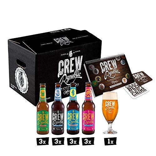CREW Republic® Craft Bier IPA Mix   Probierset   India Pale Ale   Geschenk für Männer   Bierspezialitäten aus Bayern nach deutschem Reinheitsgebot inkl. Verkostungsglas und Tasting Notes (12 x 0,33 l)