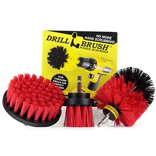 Drill Brush - attaccamento Trapano Scrubber - Spazzola per Trapano - Trapano Cerchioni - Spazzola Scrubber - Power Scrubber Brush Stiff-Red