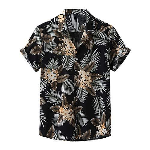 Yowablo Chemises Hommes Mode Imprimé Col Rabattu Manches Courtes Décontracté (XL,15Noir)