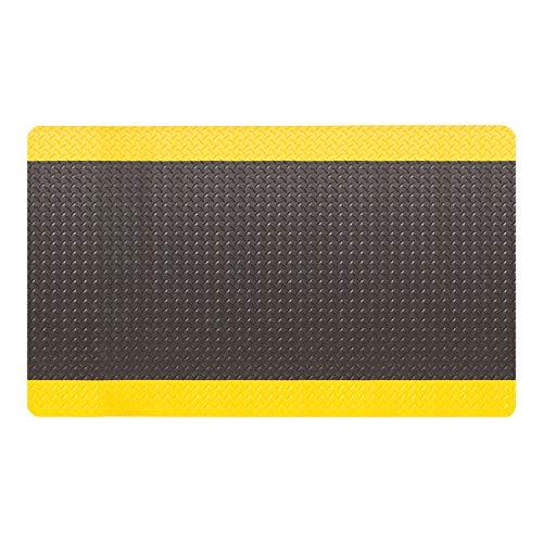 "Amazon Basics Anti-Fatigue Mat Diamond Deckplate Composite Mat 9/16"" Thick 3x10 Black/Yellow"