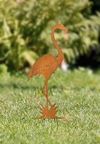 """Dekoleidenschaft Flamingo-Stecker """"Rost"""" aus Metall, Gartenstecker, Blumenstecker"""