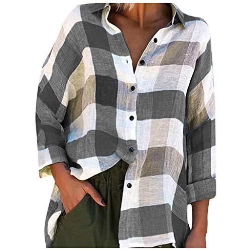 Andouy Modisch Plaid Button Down Shirts Oversized Tunika Spleißen Farbe Tops Blusen...