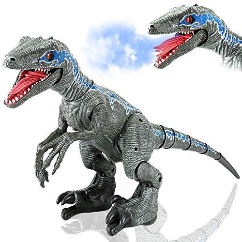 QUEMIN Dinosaurio Teledirigido Juguete, Dinosaurio Robot Gigante Control Remoto, Dinosaurio T-Rex Interactivo, Dinosaurio Jurassic Cretáceo, Caminar/pulverizar/Cantar/educación, Regalo para Niños
