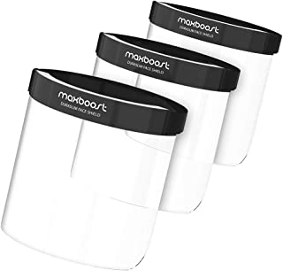 Maxboost Protective Face Shield - 3 Pack, DuraSlim Series Reusable Full PET Transparent Material with Strap for Face and Eye Protection from Droplets and Saliva