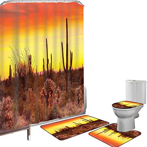 Juego de cortinas baño Accesorios baño alfombras Cactus Saguaro Naturaleza Alfombrilla baño Alfombra contorno Cubierta del inodoro Eve Sky en Western Barren Land con cactus y malezas alrededor de la T