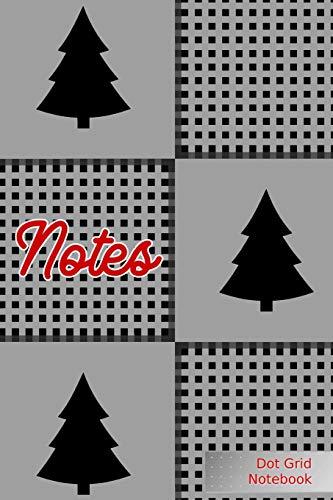 Notes Dot Grid Notebook: Christmas Trees - Punktraster Notizbuch Weihnachten Grau A5 120 Seiten