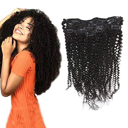 RUNATURE 8Zoll Clip In Haar Extensions 20Cm Kinky Curly Remy Haar Extensions Natural Einfarbig Clip In 100Gramm 7 Stücke Pro Paket Echthaar Extensions Afro Remy Haarverlängerung Mit Clips