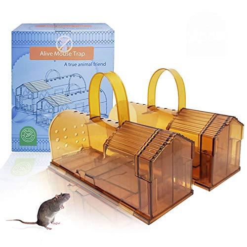 TWBEST Trampa para Ratones, 2Pcs Ratonera Ratas Vivos Trampa para Ratas Ratonera de Plástico Reutilizable con Diseño de Cola Anti-Roto y Agujeros de Aire para Cocina Jardín Hogar Cocina Ático Garaje