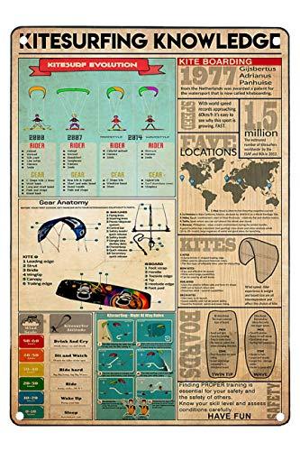 Retro Metal Signs Funny Kitesurfing Knowledge Kitesurf Evolution Kite Boarding Metal Signs For Men