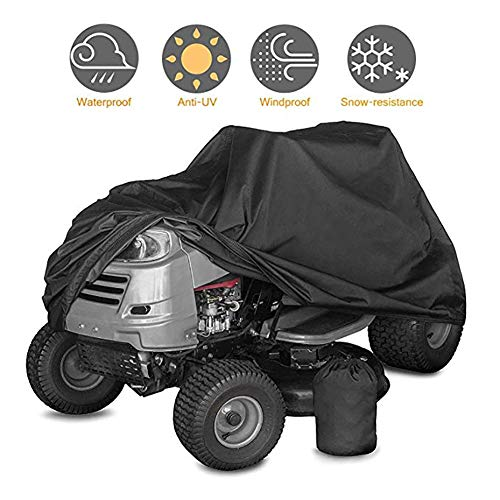 XZPENG Black Durable Riding Lawn Mower Cover, Elastic Rope & Interior Waterproof Coating, for Ride-On Garden Tractor (Size : 177110110CM)