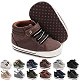 KaKaKiKi Baby Boys Girls Ankle High-Top Sneakers Shoes Soft Sole Toddler First Walker Newborn Crib Shoes, 01 Brown+strap, 12-18 Months Toddler