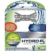 Wilkinson Sword Hydro 5 Sensitive - Recambio de Cuchillas de Afeitar de 5 Hojas para Hombres con Piel Sensible, Banda Lubricante Extra Hidratante, 8 Unidades