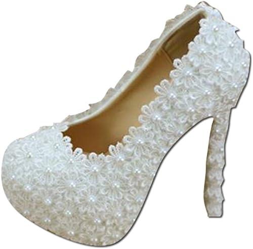 Chaussures de mariée - élégantes Fleurs en Dentelles Chaussures de Mariage Chaussures de mariée en Perles de Talons Hauts Blancs Chaussures de Mariage (avec Haut  14cm)