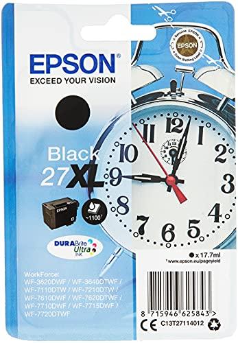 Epson Original 27 Tinte Wecker (WF-3620DWF WF-3640DTWF WF-7110DTW WF-7210DTW WF-7610DWF WF-7620DTWF WF-7710DWF WF-7715DWF WF-7720DTWF, Amazon Dash Replenishment-fähig) schwarz