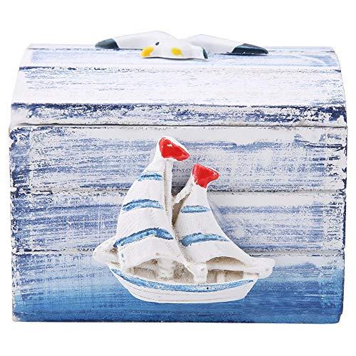 Bicaquu Schmuckschatulle Mediterranen Stil Holz Schmuck Pralinenschachtel Tragbare Kleine Aufbewahrungsbox (Segel)