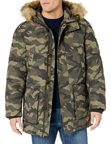 Tommy Hilfiger Men's Boys' Arctic Cloth Full Length Quilted Snorkel Jacket (Regular and Big and Tall Sizes), camouflage, Medium