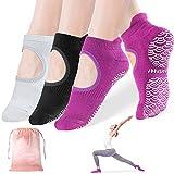Calze da yoga da donna antiscivolo con impugnature, Sportneer antiscivolo per pilates, sbarra, balletto, danza, allenamento a piedi nudi, fitness ospedaliero, 3 pezzi, taglia M