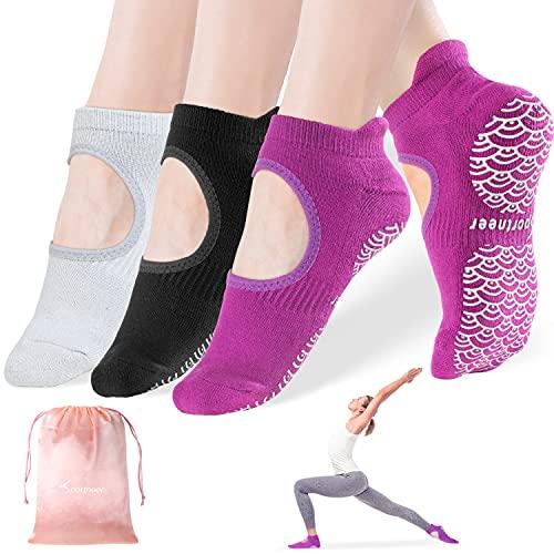 Yoga Socks for Women Non Slip Socks with Grips, Sportneer Anti-Skid for Pilates, Barre, Ballet, Dance, Barefoot Workout Fitness Hospital Socks,3-Pack,SizeM