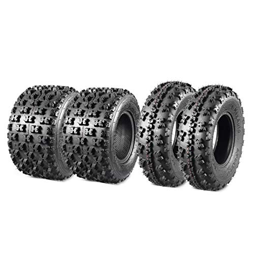 MaxAuto Set of 4 Sport ATV Tires 22X7-10 20x10-9 Quad Tires all Terrain UTV Tires 6PR Tubeless 22X7x10 Front & 20x10x9 Rear Mud Tires