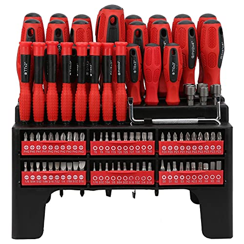 100X Screwdriver Bits Socket Magnetized Drill Bits Slot/Star/Hex Tools w/Handle Tool set Drill bit set Screwdriver sets Tool kit Screwdriver set Screwdriver bit set Screw driver Screw driversets