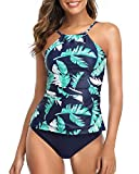 Tempt Me Women Green Leaf Two Piece Swimsuit Navy Blue Tankini Ruched Tummy Control High Neck Swimsuits L