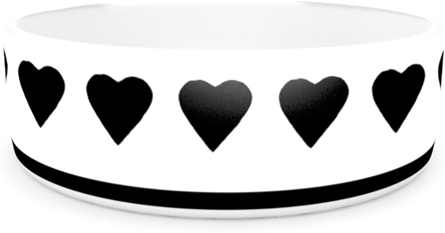 Kess InHouse Project M Heart Stripes Black and White  Pet Bowl, 7Inch, Monochrome Lines