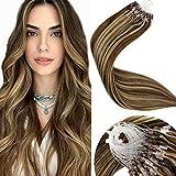 LaaVoo 22Pulgadas/55cm Marron Oscuro Piano Color Caramelo Rubio Extensiones Pelo Remi Humano Beads Hair Easy Loop Micro Ring Extensiones 50g/50s