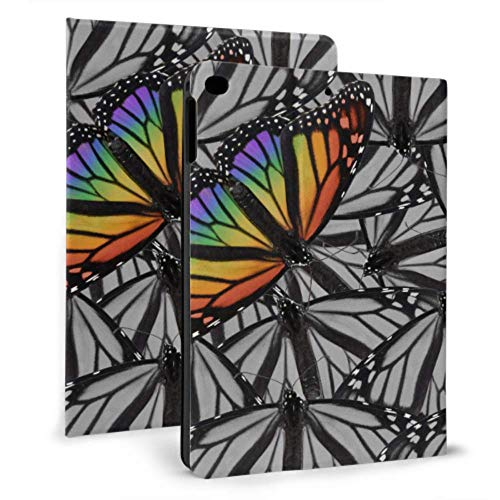 Plsdx Cute iPad Cover Monarch Butterfly Colocado en Negro Blanco Kids iPad Case para iPad Mini 4 / Mini 5/2018 6th / 2017 5th / Air/Air 2 con Auto Wake/Sleep Magnetic Kid iPad Cover