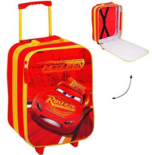 alles-meine.de GmbH großer _ Kinder Trolley -  Disney Cars - Lightning McQueen / Auto  - wasserabweisend & beschichtet - Jungen - Trolly mit Rollen - Koffertrolley / Kindertrol..
