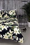Hive Parure de lit double avec housse de couette et taie d'oreiller assortie Motif floral Toucan réversible (Double)